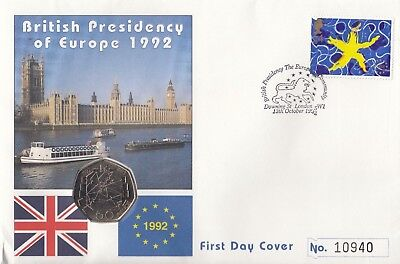 1992 - 1993 British Presidency EEC EC Council 50p First Day Cover Brexit Coin BU