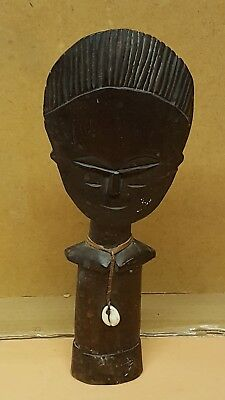 African Tribal Wooden Statue With Shell Necklace - Vintage ? Antique ?