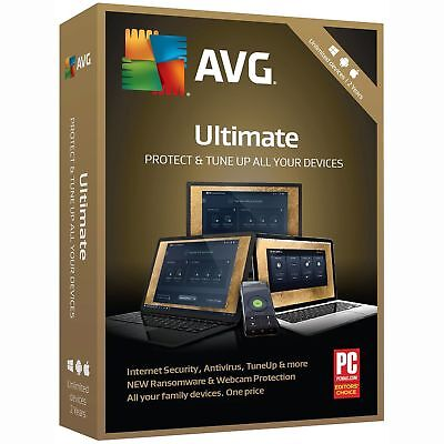AVG 2019 ULTIMATE 2 Years Unlimited Users Internet Security Antivirus PC TuneUp