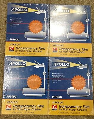 APOLLO Transparency Film for Plain Paper Copiers PP100C 100 Sheets X4 New Sealed