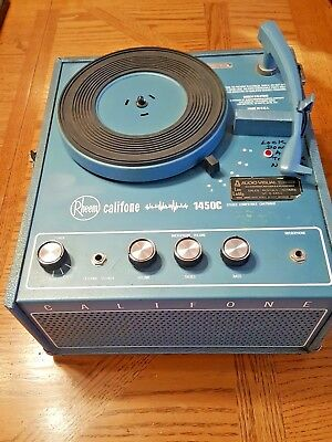 Vintage Rheem Califone Portable Record Player Turntable 1450C TESTED Working