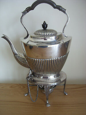 A Good Quality Victorian Silver Plated Kettle On Its Heated Stand