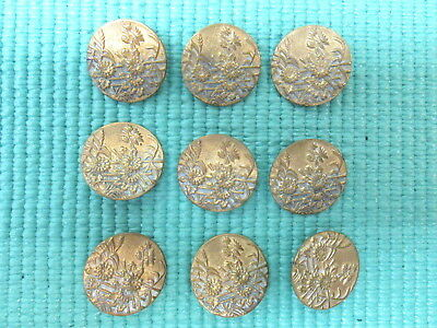 9 Vtg  Art Nouveau 1N Inch Brass Floral Buttons Beautiful L@@k