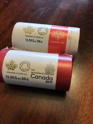 2017 Canada Fifty 50 Cent Set Of 2 From Rolls In Capsules, Get 1 Of Each!