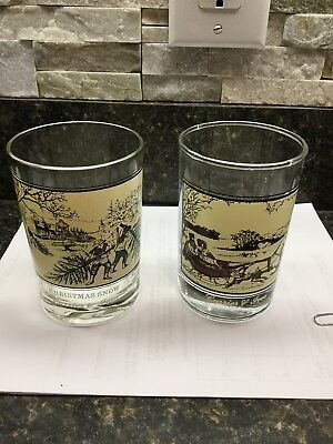 Currier & Ives Arby's Collectors Glasses Christmas Snow & The Road in Winter