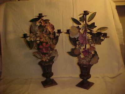 Antique French Tole Floral Candalara