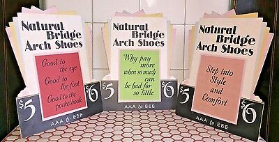 3 Vintage Art Deco 1920s 1930s Natural Bridge Arch Shoes Standee Counter Signs