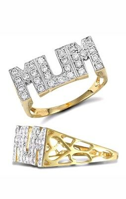 9ct Gold Plated CZ Love Sides Micro Pave MUM Ring  love mum ring