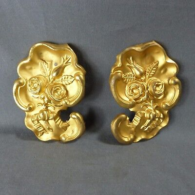 Pair of French Antique Brass Tole Plaque Furniture Mount Roses 19th century
