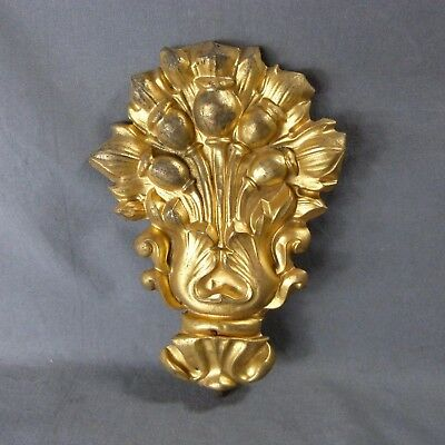 French Antique Brass Tole Plaque Furniture Mount Bouquet of Flowers 19th century