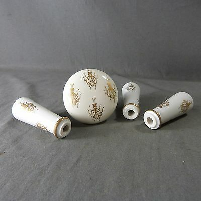 Set of Vintage French Porcelain Door Knobs Handles Insect Porcelain of Paris