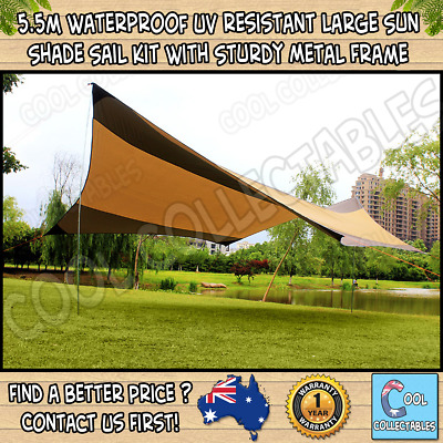 5.5m Waterproof UV resistant Large Sun Shade Sail Kit With Sturdy Metal Frame
