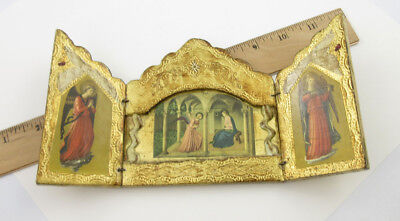 Vintage Florentine Gilt Gold wooden Triptych Print Fra Angelico The Annunciation