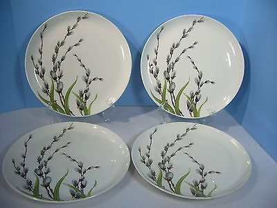 """Plates WS George Pussy Willow China Dinnerware Dinner Set of 4 White 10"""""""