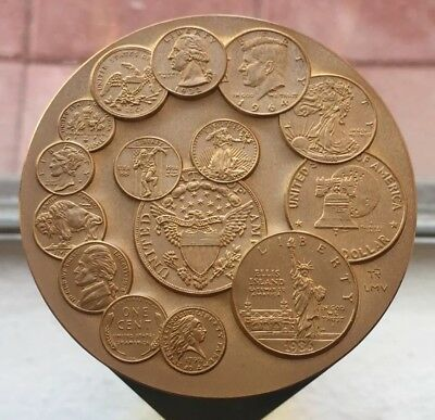 Large 1992 US Mint Bicentennial Uncirculated Bronze Medal Orig. Box & Stand