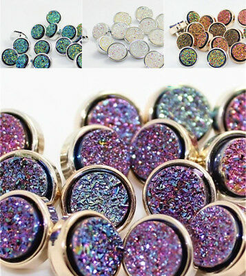 8Pcs Shimmer Resin Round Shank Buttons Backhole DIY Sewing for Coat Blouse Decor