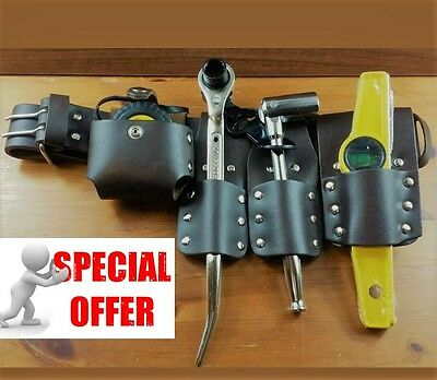 Scaffolding 5Pcs Thick Brown Leather ToolSet Belt With 4 PcsGood full Tool Set..