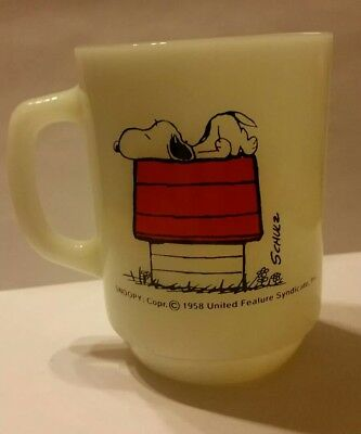 """Vintage 1958 Fire King Snoopy """"I think I'm allergic to morning"""" Coffee Cup Mug"""