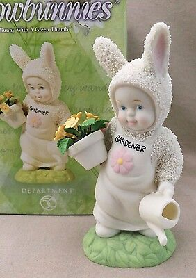 "Department 56 Snowbunnies Figurine ~ 2002 ""Bunny With A Green Thumb"""