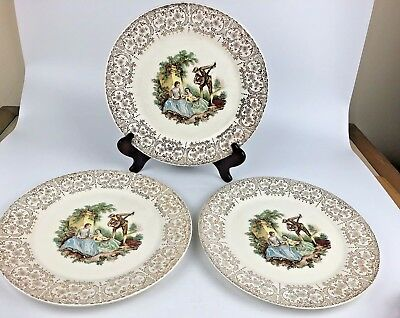3 Triumph American Limoges Dinner Plates 22k Gold Embellishment China DO'R