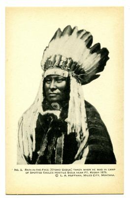 """L A Huffman: """"1916 Custer Trail Expedition No. 3, Rain-in-the-Face"""" Unposted WB"""