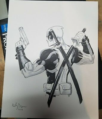 Original Art Sketch Commission - Deadpool by Reilly Brown 11x14