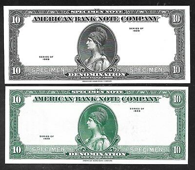 US/American Bank Note Co. (ABNC) Specimen Notes -1929 - 2 Varieties  Unc.