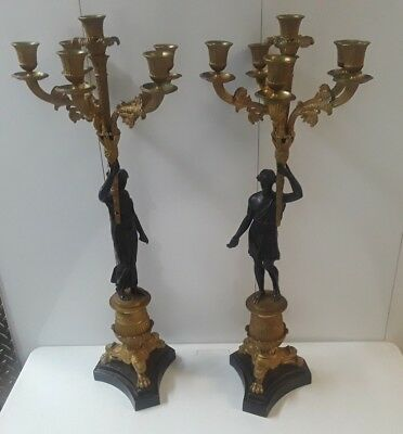 Pr Antique French Empire Louis XV Bronze Candelabra Candle Holders Greek Motif