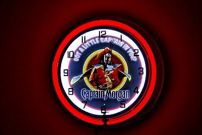 Captain Morgan Rum -  Neon Clock - 19""