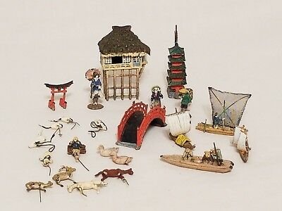 Lot Of Vintage Chinse Miniature Lead Figures Villiage Pieces Animals Boats COOL
