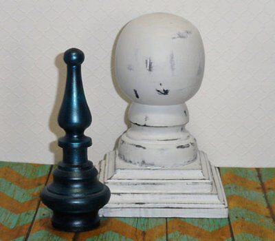 Pair Vintage White Wood Ball Cap Finial Newel Post Top Salvage Shabby Distressed