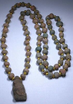 "Queen Cleopatra Egyptian Terracotta Necklace Mummy Beads 32"" Hand Beaded"