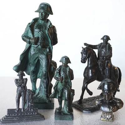 Five Vintage/Antique French Napoleon Bronze Finish Spelter Statues
