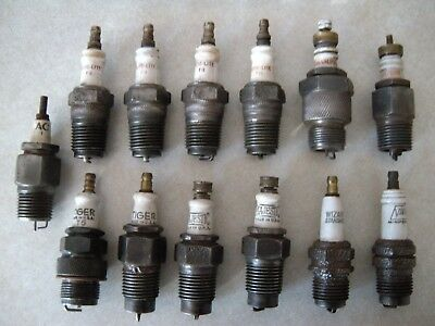 13 Vintage Old Antique Spark Plugs, 1 & 2 Piece
