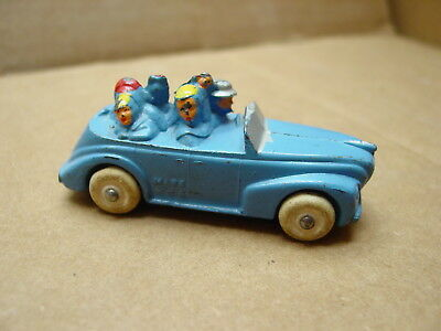 VINTAGE BARCLAY FAMILY VACATION CAR W/DOG & KIDS OLD SLUSH LEAD MOLD TOY CAR 40s