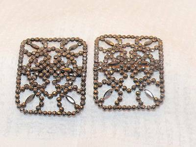 French Steel Cut Shoe Clips Buckles Pair Antique Georgian Victorian France Set 2