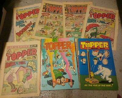 The Topper Annuals X2 1973,1976 + X5 Paper Comics used