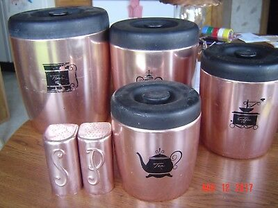Vintage West Bend Copper Colored Canister Set with Lids
