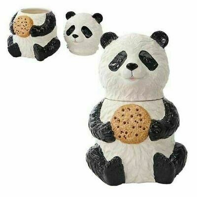 Ceramic Cookie Jar Kitchen Accessory Decor Top Lid Cookie Lover Panda Sitting