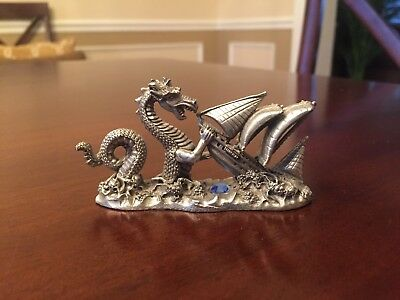 Spoontiques Pewter Sea Dragon Attacking Ship #M1755