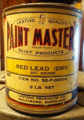 Vintage PAINT MASTERS  Paint Can Red Lead Lasting Products Baltimore MARYLAND
