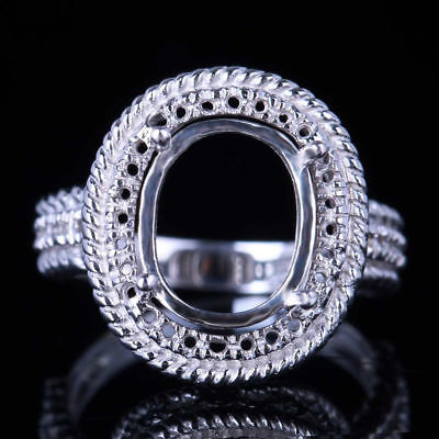 Hot Charm 11X9mm Oval Sterling Silver Semi Mount Engagement Wedding Vintage Ring