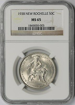 1938 New Rochelle 50C NGC MS 65 Early Silver Commemorative Half Dollar