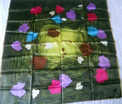 Vintage 1950S Silky Acetate Scarf Square Purple Pink Blue Leaves 78 X 78 Cms