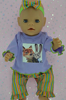 "Play n Wear Doll Clothes To Fit 17"" Baby Born STRIPE PANTS~TOP~HEADBAND"