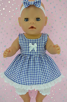 "Play n Wear Doll Clothes To Fit 17"" Baby Born GINGHAM DRESS~BLOOMERS~HEADBAND"