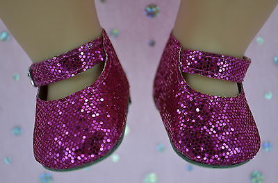 """Dolls Shoes For 17""""Baby Born~18""""American Girl HOT PINK SPARKLE MARY JANE SHOES"""