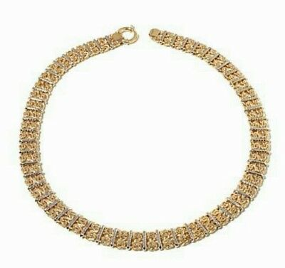 Technibond Double Row Byzantine Chain Necklace 14K Yellow Gold Clad Silver 18''