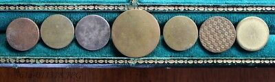 Lot of 7 Antique Gilded Brass Button Flat / Coin Shaped Assorted Backmarks  25mm
