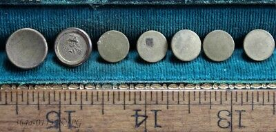 Lot of 7 Antique Gold Gilded Brass Button Flat / Coin Assorted Backmarks - Small